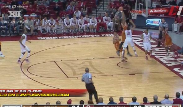 Texas' Prince Ibeh with a rebound dunk vs Oklahoma