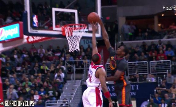 Paul Pierce hits the turnaround jumper over Barnes then blocks Barnes dunk attempt