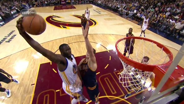 Draymond Green joins the list of players who have dunked on Mozgov