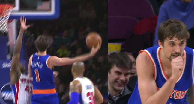 Knicks' Alexey Shved with one of the worst shot attempts of the year
