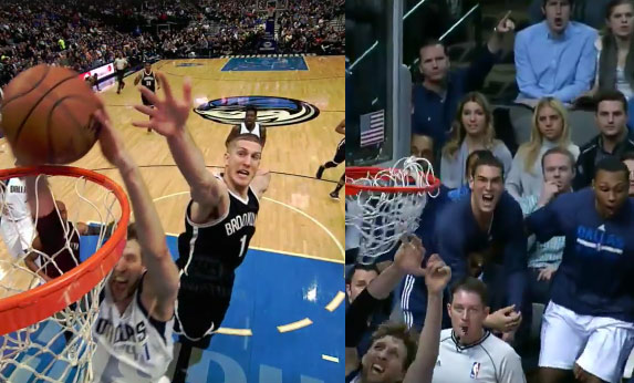 Mavs bench goes crazy after Dirk Nowitzki throws down his 2nd dunk of the year