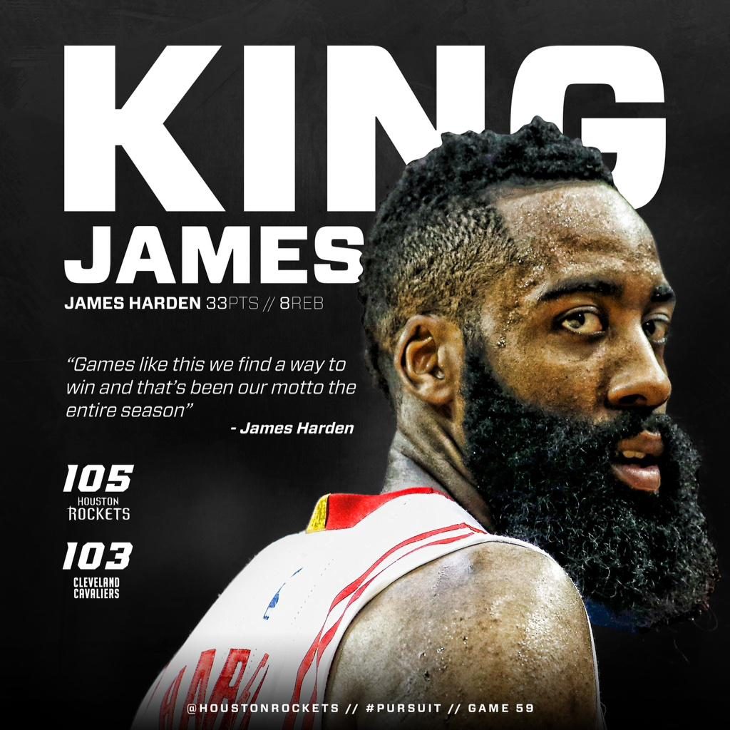 Rockets Troll LeBron/Cavs After Win With a King James (Harden) Image