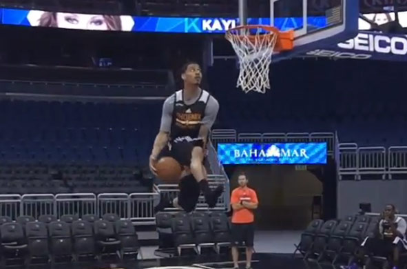 Gerald Green is capable of doing a between the legs dunk off 1 step and without shoes!