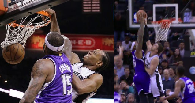 DeMarcus Cousins Gets Dunked on by Kawhi Leonard & His Dunk Blocked By Tiago Splitter