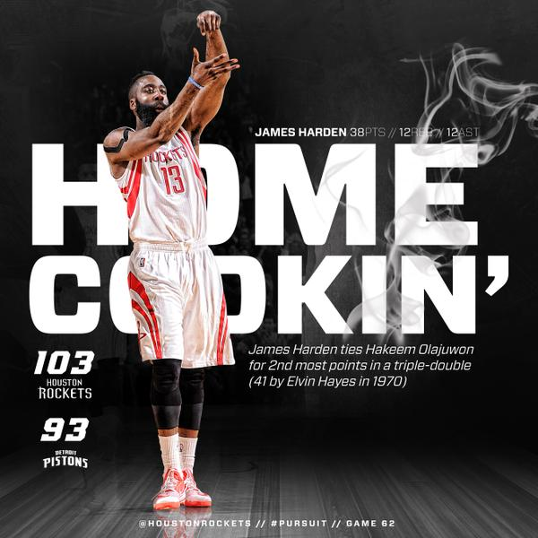 Flicka da wrist: James Harden 38 point triple double vs Pistons