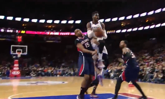 Nerlens Noel with the steal & fancy layup in win over the Hawks (15 steals in last 3 games)