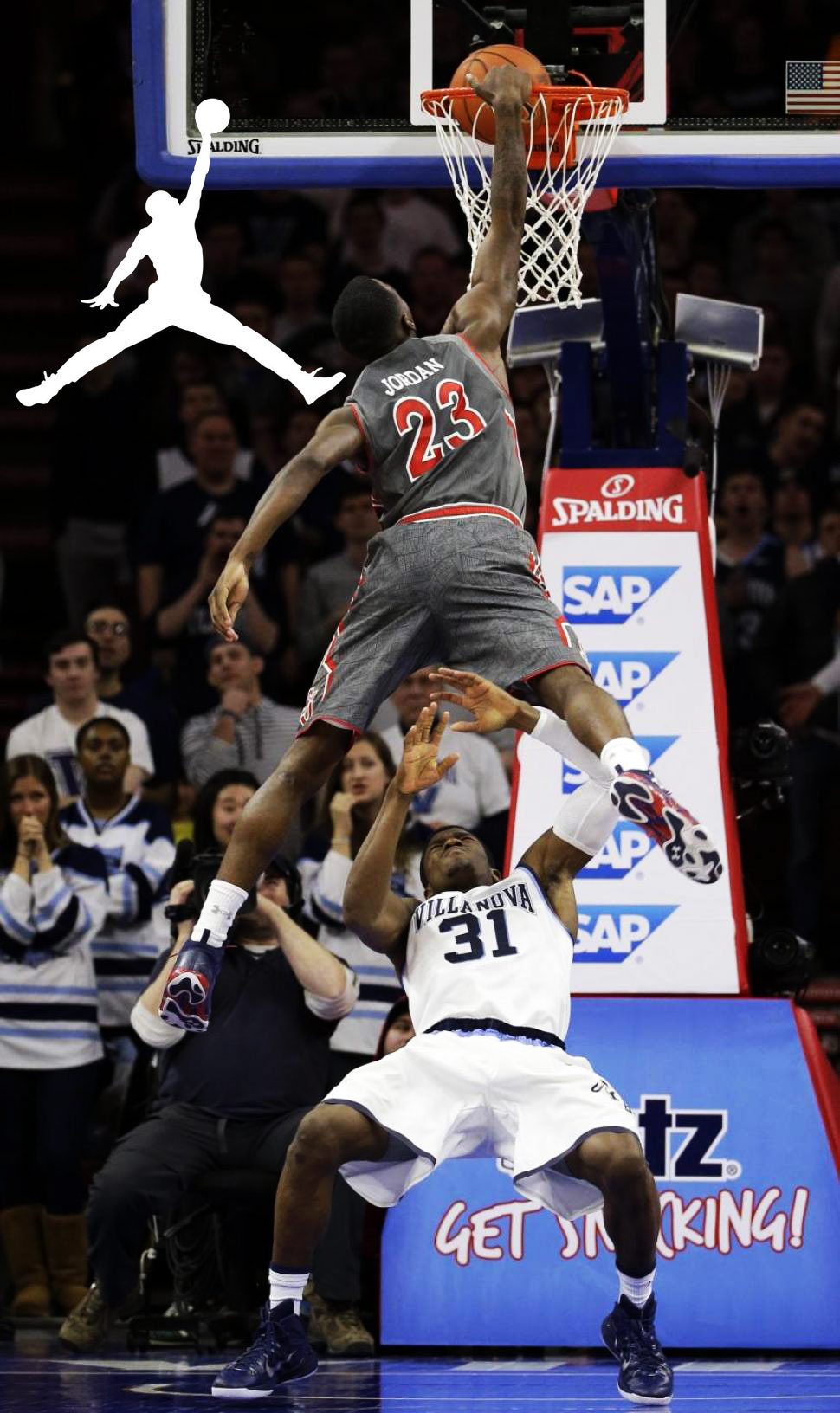 23 rysheed jordan does the jordan logo over a defender ballislife com