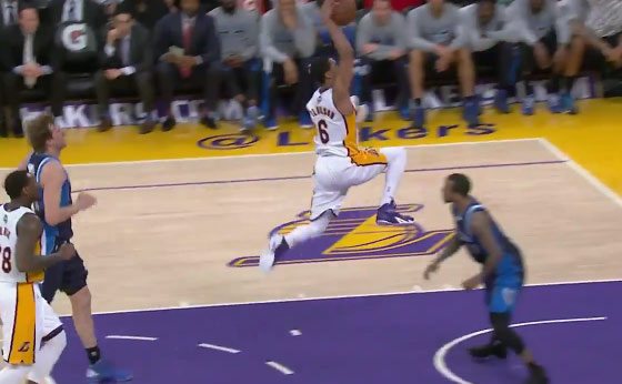 Jordan Clarkson takes off from the dots & dunks vs the Mavs