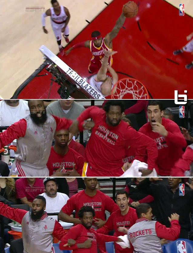 The Rockets Hilariously Celebrate Josh Smith's Poster Dunk on Chris Kaman