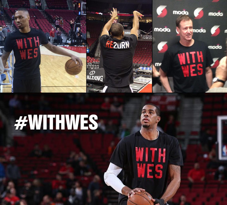 Blazers wear WITH WES t-shirts during warm-ups