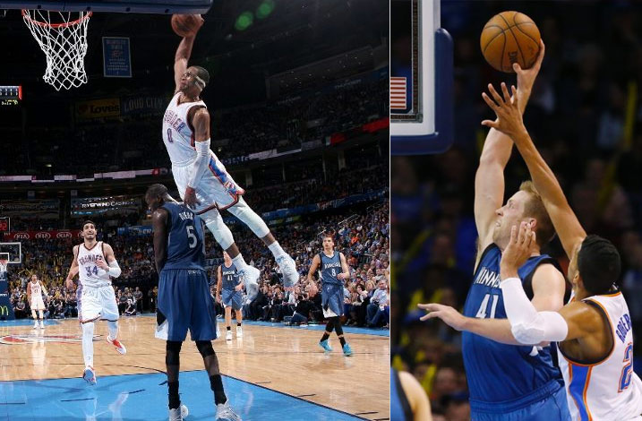 Russell Westbrook Misses A Poster Dunk on Dieng, then Justin Hamilton posterizes McGary