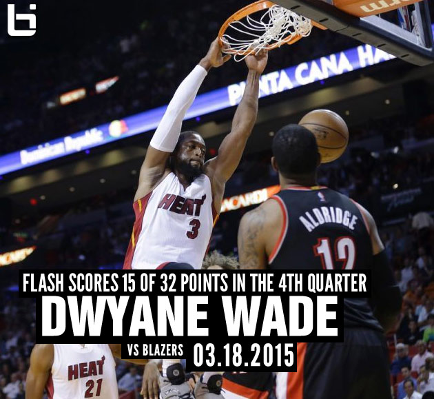 Dwyane wade stays hot scores 15 of 32 points in 4th quarter vs bil wade voltagebd Gallery