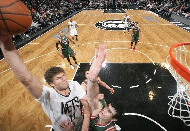 Brook Lopez Posterizes Ersan Ilyasova to start the 3rd overtime