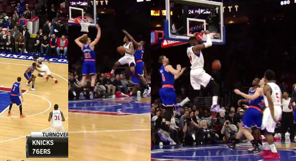 Ish Smith crosses the Ish out of Galloway then makes the dish to Noel for the dunk