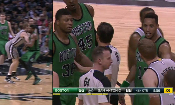 Marcus Smart Gets Ejected For Punching Matt Bonner in the Groin