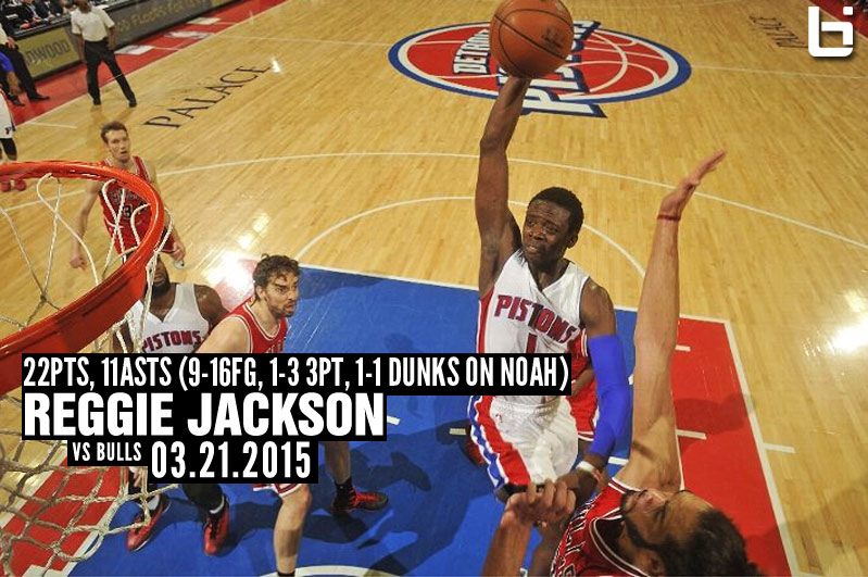 Reggie Jackson 22 points, 11 assists and 1 dunk over Joakim Noah