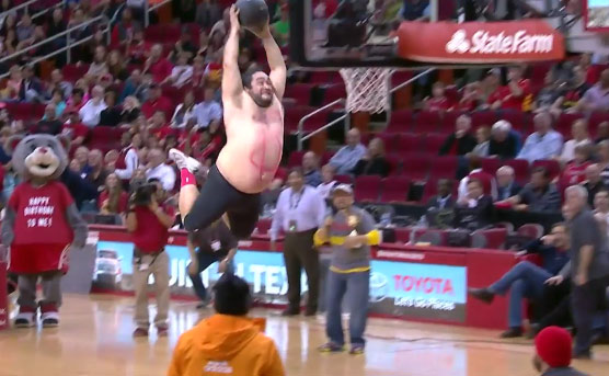 Fat Guy Dunking At Houston Rockets Half-time Show