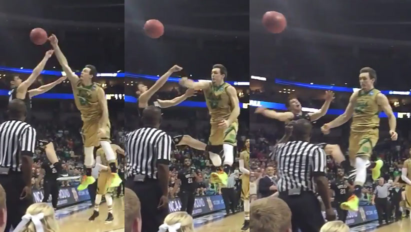Notre Dame's Pat Connaughton With the Nasty Block At The End of Regulation