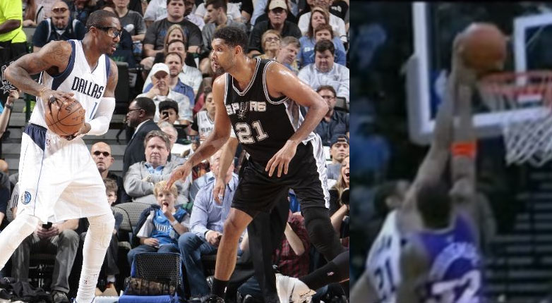 """Tim Duncan Rejects Amar'e Stoudemire, brings back memories of """"the block"""" from the 2005 WCF"""