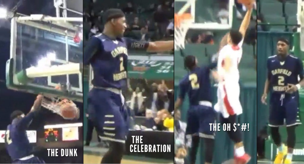 HS player dunks, celebrates down the court…looks up and gets dunked on!