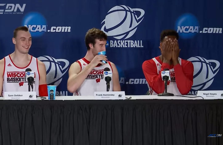 Wisconsin's Nigel Hayes Had An Embarrassing Press Conference Moment When He Didn't Realize His Mic Was On