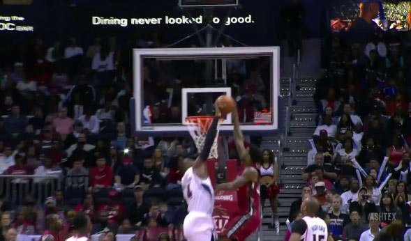Block of the Night: Paul Milsap Rejects Udonis Haslem's Dunk Attempt