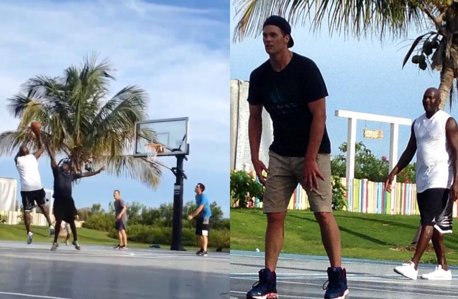 Michael Jordan & Tom Brady Playing Basketball & Talking Trash Against Golf Pros