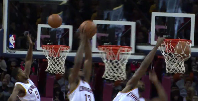 Tristan Thompson Goes Up To Catch An Oop With His Left Hand, Dunks With His Right