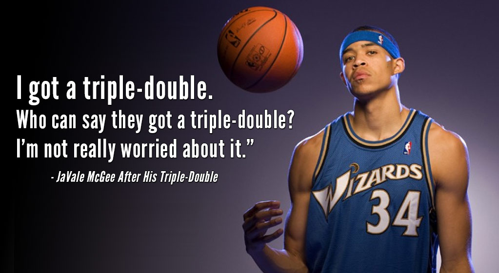 """2011: JaVale McGee gets a """"terrible triple-double"""" vs the Bulls (11pts/12rebs/12blks)"""