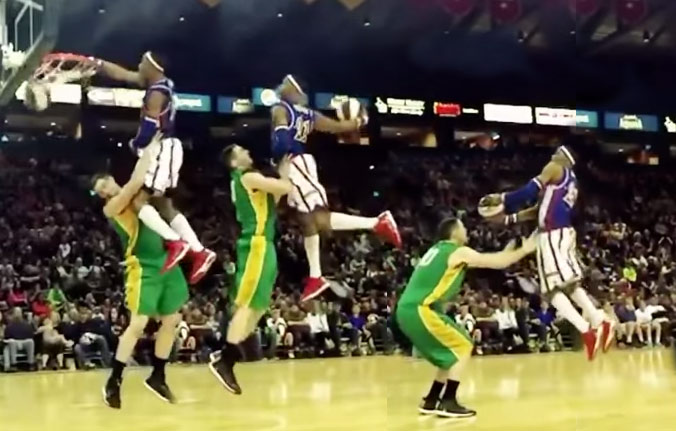 Harlem Globetrotter Does 6 windmill dunks in 15 seconds + Windmill Poster Dunk