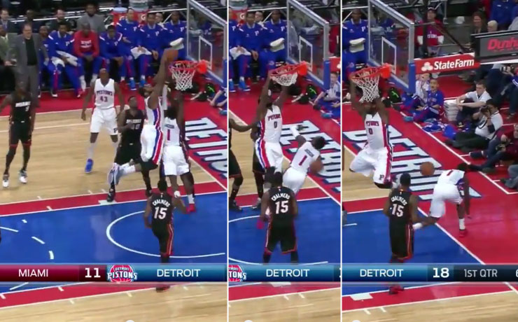 Andre Drummond Dunks on Teammate Reggie Jackson