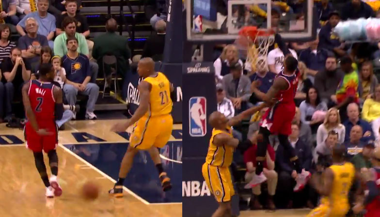 John Wall Steal, Behind the Back Pass To Beal For the Dunk