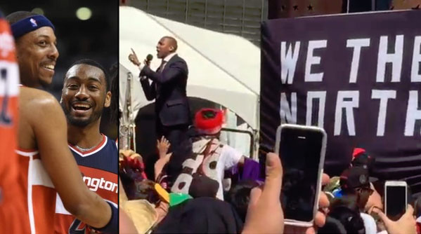 "Raptors GM Masai Ujiri Fires Up Crowd, responds to Paul Pierce by saying ""we don't give a $#it"""