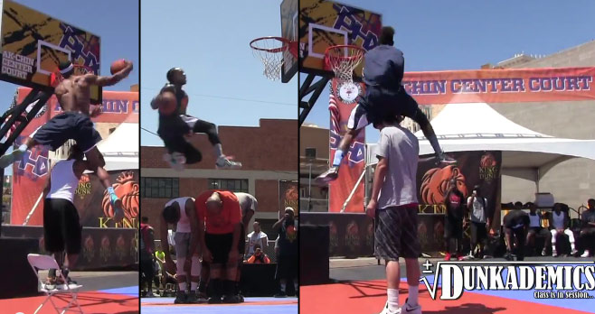 "5'10 Sir Issac Dunks Over 7 footer in ""King of the Dunk Game"" Dunk Contest"