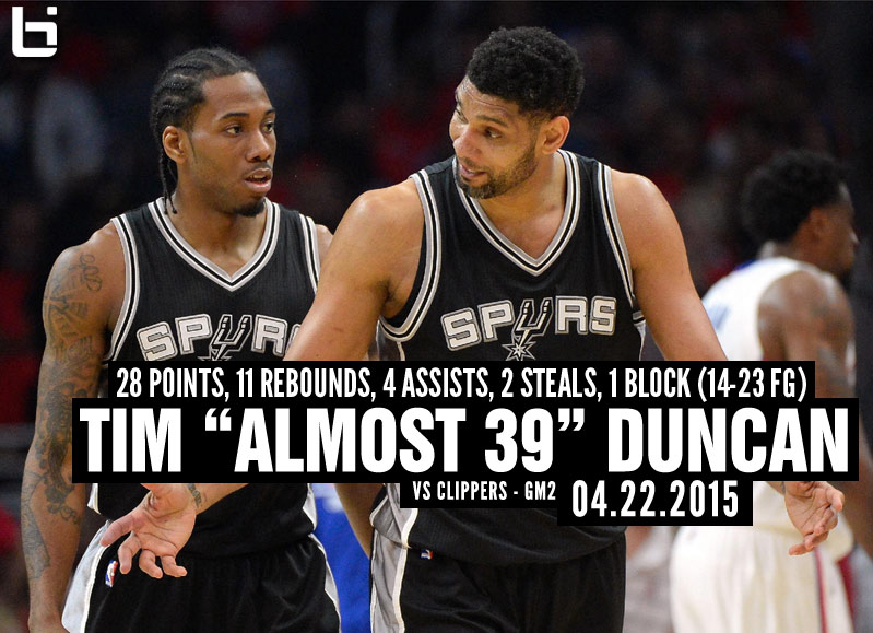 "Almost 39 Year Old Tim Duncan ""Continues to Amaze"" in GM2 OT Win Over the Clippers"