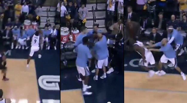 Teammates Mob Tony Allen After Loose Ball Save, Preventing Him From Getting Back Onto the Court