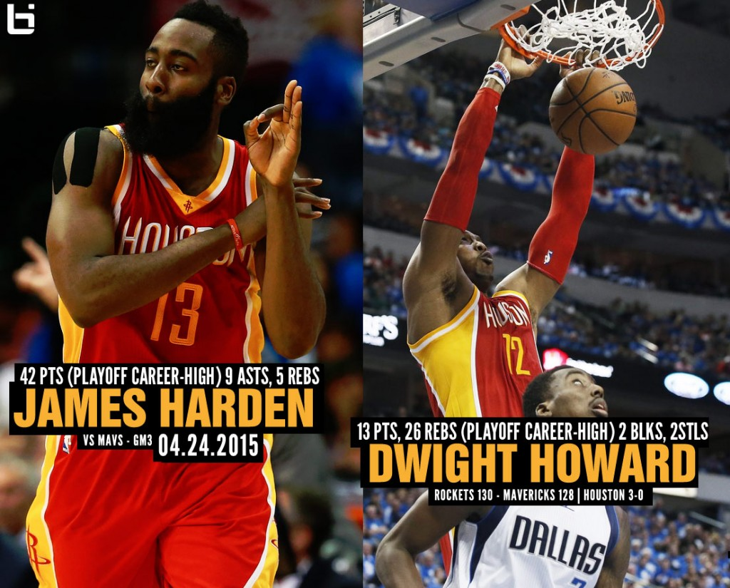 James Harden (42 points) & Dwight Howard (26 rebounds) Have Playoff Career Nights in GM3 Win