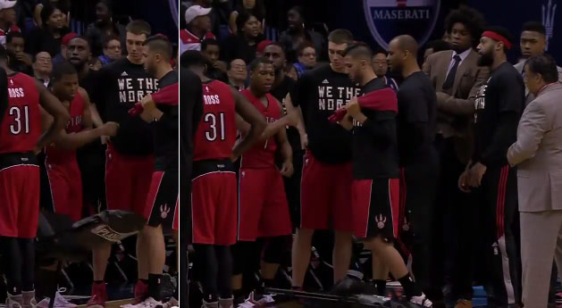 Kyle Lowry Punches A Chair and Then Stares It Down