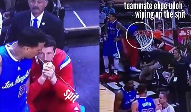 Matt Barnes Spits On The Floor & Ekpe Udoh Cleans Up The Spit (not Tony Parker)