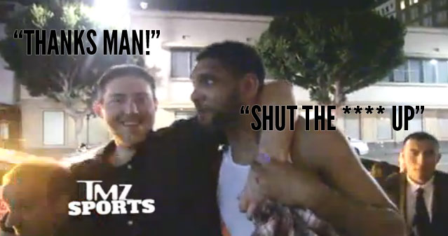 "Tim Duncan Carries Drunk Teammate to Bus & Tells Him To ""Shut the F*** Up"" In Front of Paparazzi"
