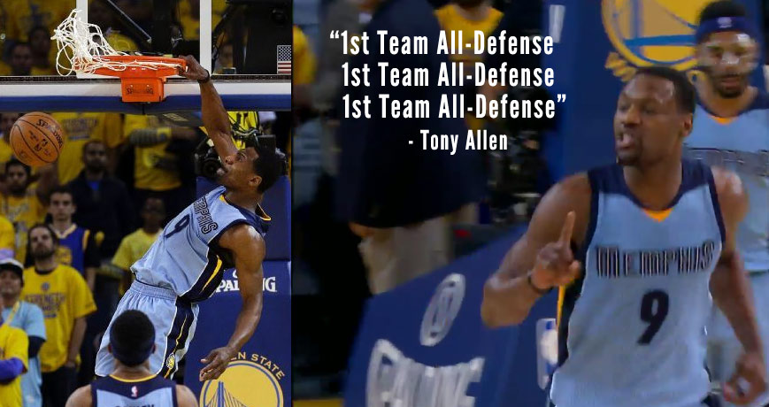 "Tony Allen Shuts Down Klay Thompson, Taunts Fans By Yelling ""1st Team All-Defense"" Throughout the Game"