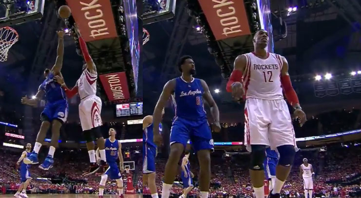 DeAndre Jordan With The Stare After Swatting Dwight Howard's Hook Shot