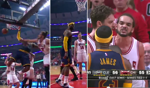 LeBron Gets a Tech For Taunting Noah After Dunking On Him