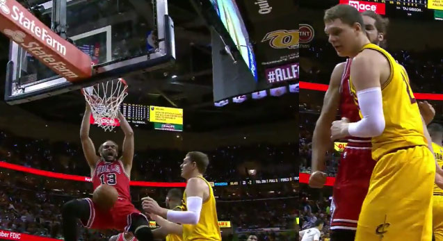 Joakim Noah Dunks, Screams at Mozgov & Doesn't Get a Tech