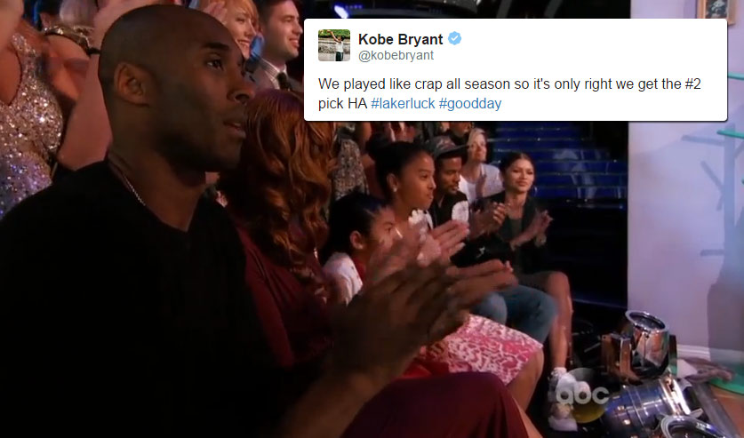 Kobe Bryant Tweets About Lakers Getting the #2 Pick While At The 'Dancing With The Stars' Finale
