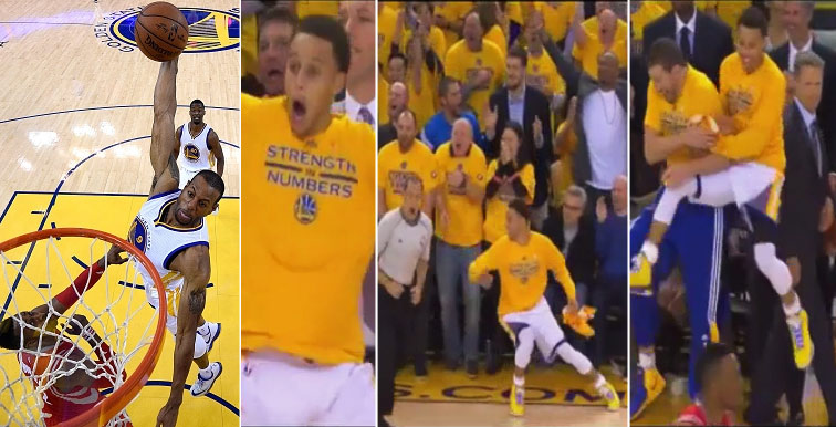 Steph Curry Goes Crazy After Iguodala Dunks Over Dwight Howard
