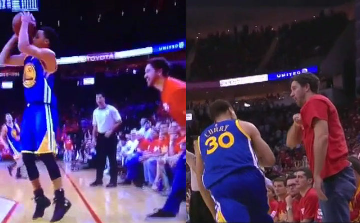 Fairweather Rockets Fan Tries to Get Steph Curry To Miss, Then Congratulates Him After the Make