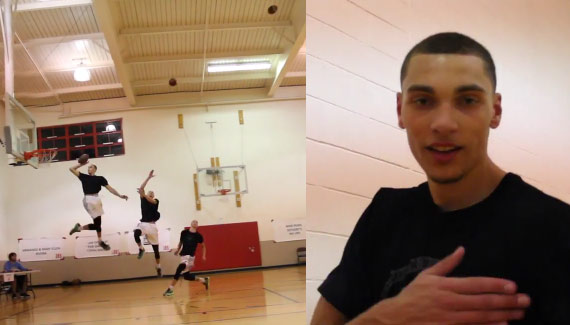 Insane Football Dunks with Zach LaVine!