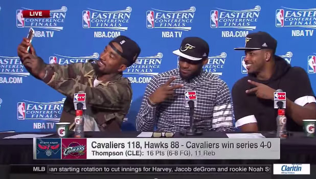 J.R. Smith Takes A Selfie During Postgame Conference