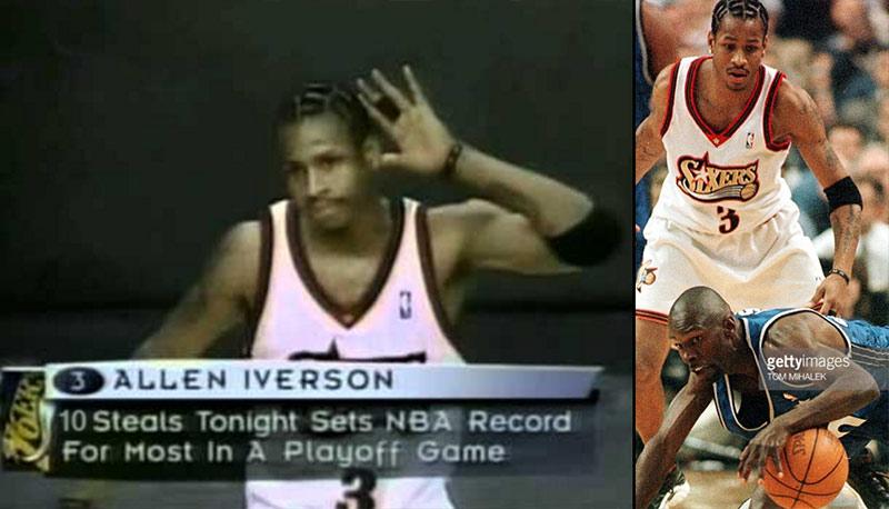 (1999) Allen Iverson records playoff record 10 steals vs Orlando